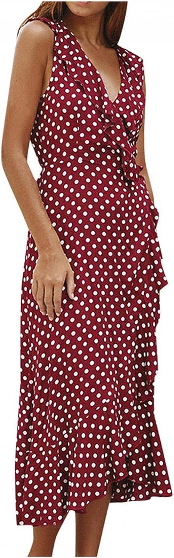 KYLEON Women's Dress Boho Beach Polka Dot Maxi Dress Summer Casual V Neck Asymmetrical Split Long Dress Sexy Party Sundrss