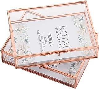 Koyal Wholesale Glass Photo Box for Photos, 4 x 6-Inch Keepsake Photo Memories Storage Case, Rose Gold Decorative Heirloom Glass Jewelry Box with Locking Lid, Wedding Photographer Glass Photo Box
