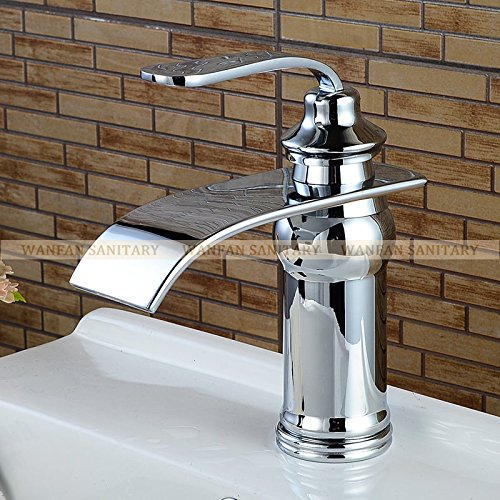Grifo Grifo de lavabo Latón macizo Bronce frotado con aceite Cascada Mezclador de lavabo de baño Grifo de caño cuadrado grande Torneira Banheiro WF-9273