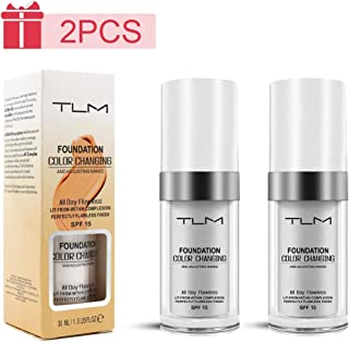 (2Pcs) TLM Colour Changing Fondation Makeup Concealer Full Coverage Cream Flawless Base Nude Face Liquid makeup foundation Cover Concealer Changing Warm Skin Tone Moisturizing Cover for Women&Girls