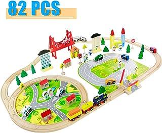 Tren Juguete Madera para Niños- 82 Piezas Trenes de Juguete
