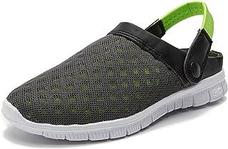 Unisex Clogs Slippers Women Men Garden Shoes Summer Breathable Mesh Slippers Non-Slip Outdoor Sandals Lightweight 36-46 (E...