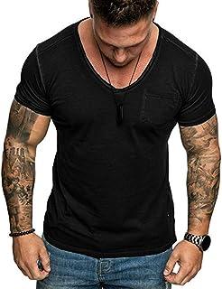 Camiseta Hombre MISSWongg Color Sólido Blusa Cuello en V Manga Corta Tops Cómodo Material Suave Camiseta Bolsillo Slim Fit...