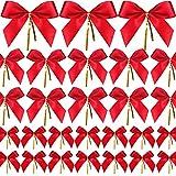 48 Pièces Arc de Noël Ruban Rouge Noeud pour Sapin de Noël, Guirlande de Noël, Décoration de Cadeau de Noël (3 Tailles Assorties)