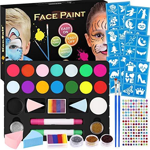 Konsait Face Paint Kit for Kids Adult, Jumbo Glitter Tattoo Stencil,Rainbow Cake,16 Large Paints 160 Gems 2 Crayons 2 Brushes 2 Glitter 2 Sponge, Body Face Painting Set Water Based Halloween Makeup