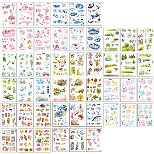 Ritte Scrapbooking Aufkleber, Japanische Papieraufkleber, 48 Blatt Fotoalbum Dekoration Tagebuch Album Stick Label für Tagebuch Scrapbook Kalender Notizbuch Fotoalbum DIY Dekoration (Set A)