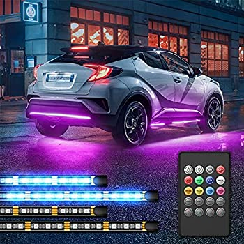Car Neon Underglow Lights GOADROM Waterproof RGB LED Strip Light Multi-Colored Underbody Exterior Lighting Kit with Sound Active Function and Wireless Remote Control 5050 SMD LED Light Strips