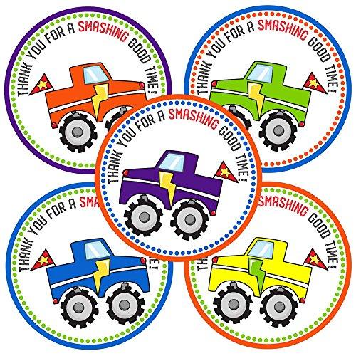 Adorebynat Party Decorations - EU Monster Truck Grazie Stickers - regalo bambini festa di compleanno favore Labels - Set 30