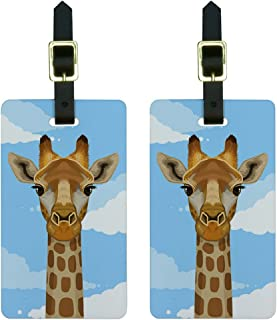 Graphics & More Giraffe in Sky-Safari Animal Luggage Tags Suitcase Carry-on Id, White