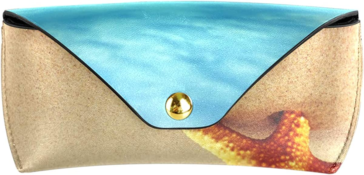 Starfish On The Beach Sea Blue Sky Multiuse PU Leather Sunglasses Case Eyeglasses Pouch Cute Goggles Bag Portable