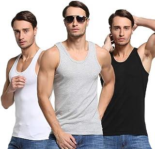 [えみり] メンズ タンクトップ インナーシャツ 3枚組 肌着 下着 ノースリーブ トップス 運動シャツ スポーツウェア Tシャツ 綿 細身 シンプル カジュアル 無地