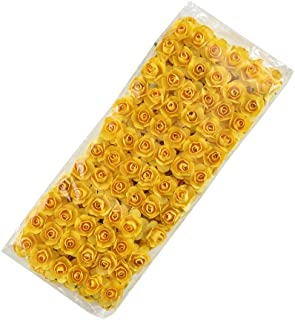 Mini Paper Rose Fake Flower Heads in Bulk Wholesale for Crafts Artificial Flowers for Home Wedding Decoration DIY Party Birthday Decor Pompom Wreath Decorative Bridal Flower 144pcs (Yellow)