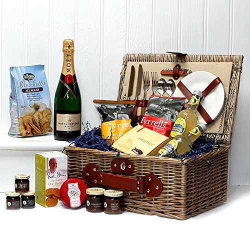 Fine Food and Champagne Hamper Presented in a 2 Person Knightsbridge Picnic Hamper Basket with Moet et Chandon Champagne and Accessories - Gift Ideas for Christmas, Valentines, Birthday, Wedding, Anniversary, Business and Corporate