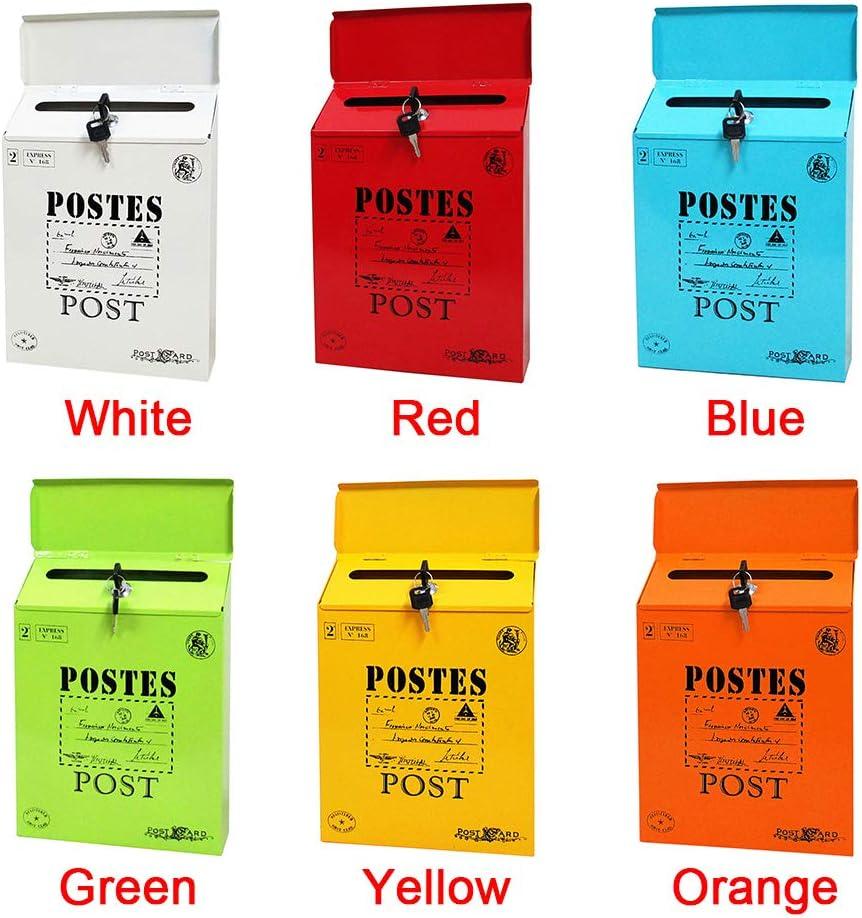 FANFA Wall Mount Mailbox 2 Keys Donation Box Colorful Durable Letter Box Collection Box Ballot Box Vintage Iron Post Box Suggestion Box