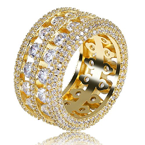 TOPGRILLZ 18K Gold Plated 2 Rows Iced Out CZ Eternity Wedding Statement Round Cut Wedding Band Ring for Men and Women
