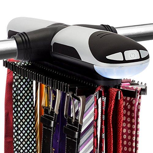 Sterline Automatico Motorizzato Girevole Cravatta e Cintura Rack con Costruito in Luce LED, Tie Rack Ruota in avanti e Indietro, Contiene 72 Cravatte e 8 Cinture