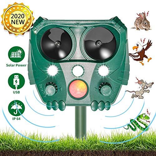 JTENG Tiervertreiber Ultraschall Solar, Katzenschreck Tiervertreiber, Marderabwehr mit Bewegungsmelder & Blitz für Katzen, Rotwild, Ratten, Hunde,Vögel