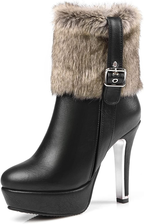 DoraTasia Fashion Fauc Fur Ankle High Women's Platform Boots