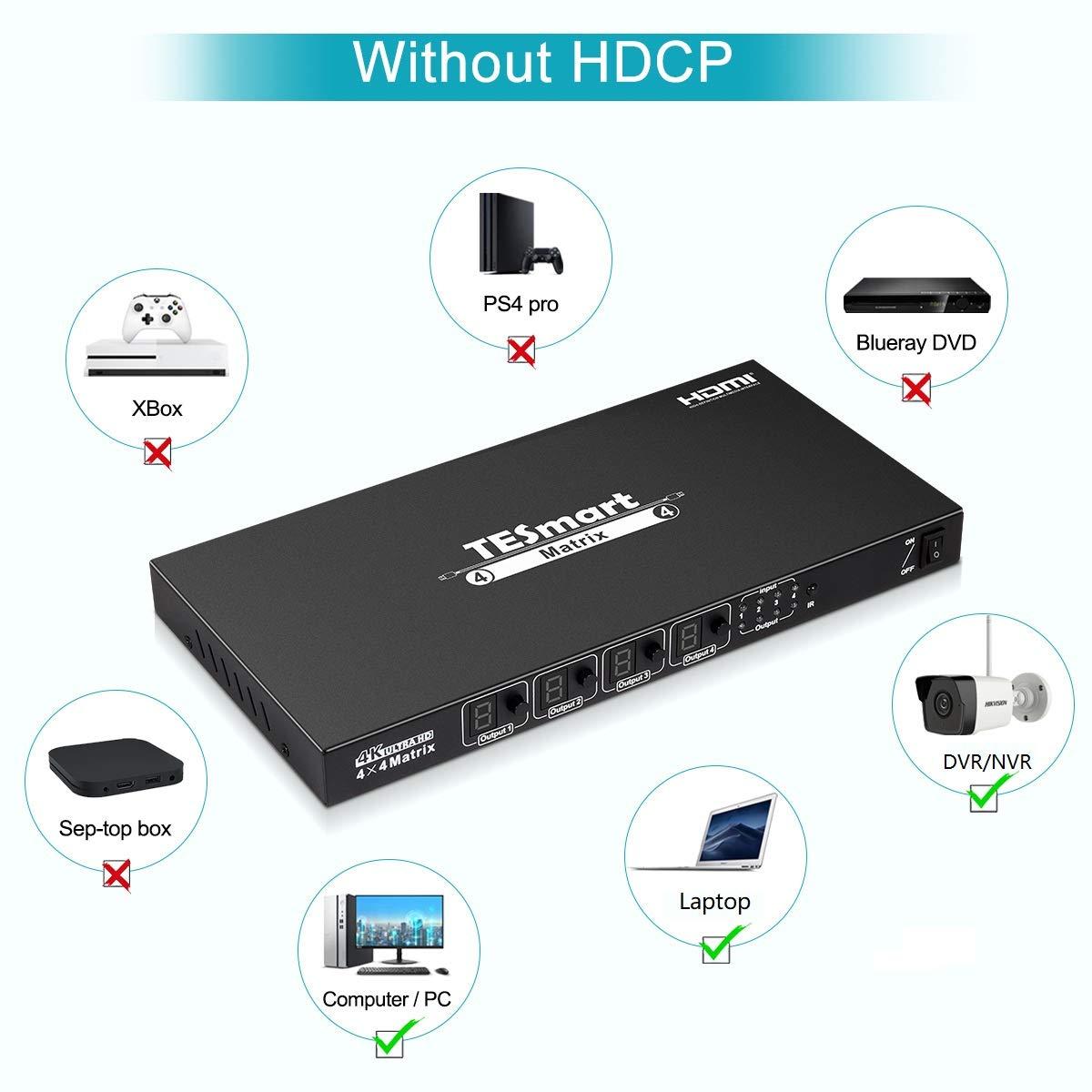 3D y Deep Color HDMI Conmutador de matriz TESmart Ultra HD 4K HDMI 4X4 Entradas de 4 puertos y salidas de 4 puertos con RS232 Control remoto IR Compatible con 4Kx2K @ 30HZ compatible con HDCP