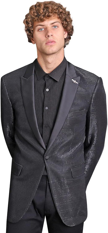 Barabas Men's Shiny Rhinestone Luxury Blazer BL010 Black 4XL