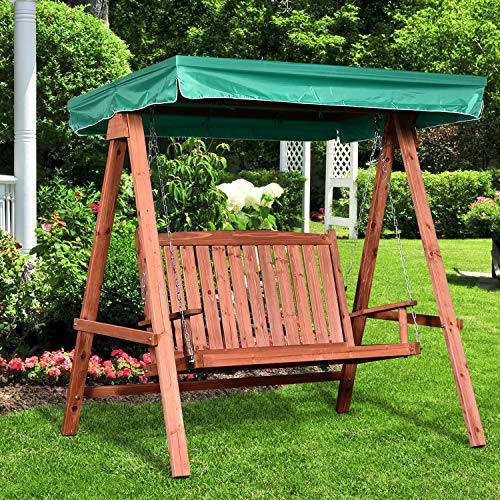 Outsunny Gartenschaukel für 2 Personen, Hollywoodschaukel, Schaukelbank mit Dach, Massivholz, Grün, 160 x 120 x 165 cm - 4