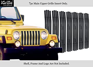 APS Compatible with 97-06 Jeep Wrangler Chrome Vertical Black Stainless Billet Grille Insert J85490J