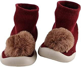 Dolloress Knitted Warm Shoes Baby Socks Slippers with Anti-Slip Bottom Solid Ball Decor for Newborn Baby Boys Girls Toddlers for Kids 12 to 24 Months 2-6 Years
