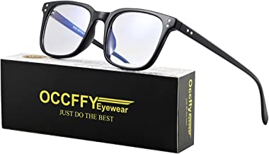 Occffy Blue Light Filter Computer Glasses for UV Blocking Anti Eyestrain Gaming Glasses Anti-Glare Blocker Eyewear Protection for Men Women 5025 (Black)