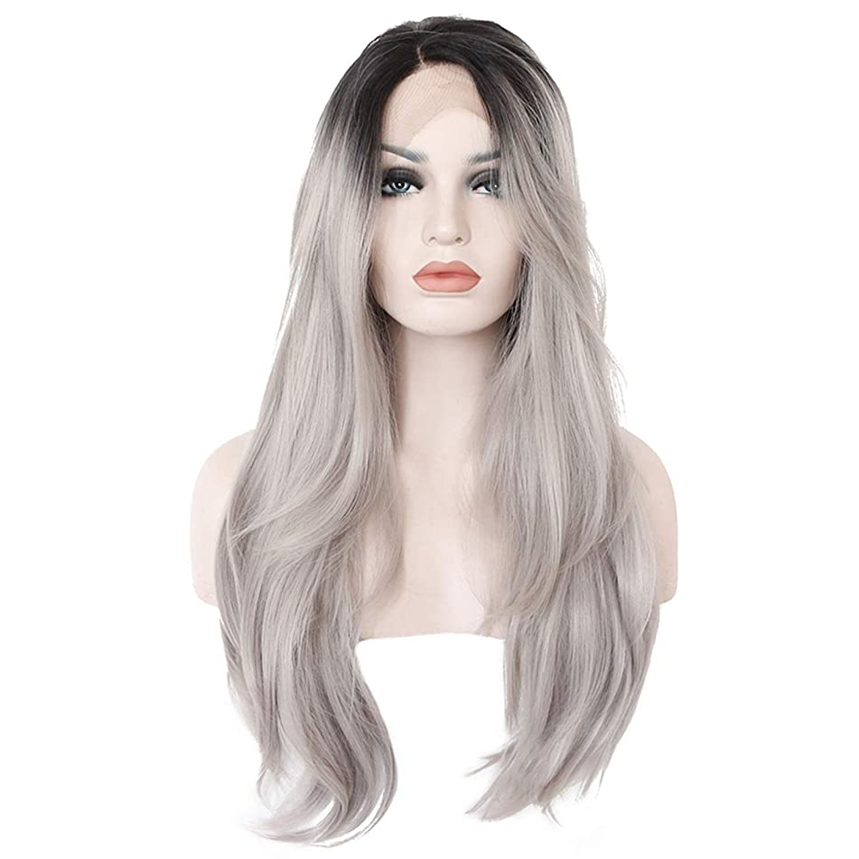 Glueless Long Wavy Swiss Black Ombre Gray Synthetic Lace Front Wig Heat Resistant Natural Hairline Hair Wigs For Women,26inches