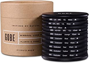 Gobe Filter Kit 49mm: UV, CPL Polarizer, FLD, ND1000 + Graduated Orange, Blue, Grey, Red, Yellow, Green