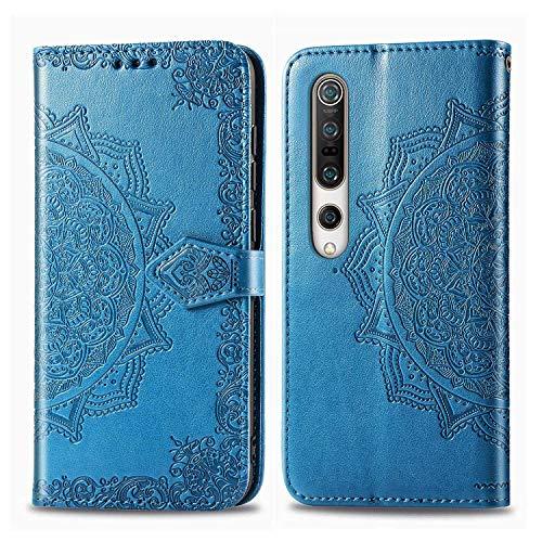 Bear Village Hülle für Xiaomi MI 10 / MI 10 Pro, PU Lederhülle Handyhülle für Xiaomi MI 10 / MI 10 Pro, Brieftasche Kratzfestes Magnet Handytasche mit Kartenfach, Blau