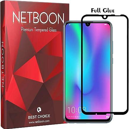 NETBOON Premium Tempered Glass Guard 9H Hardness Curved Edges Full Glue Anti-FingerPrint Screen Protector For Honor 10 Lite Transparent (NTC857) Black