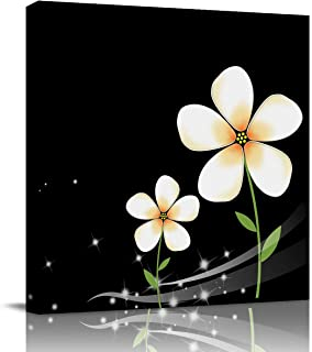 Miss Sweetheart Canvas Wall Art - White Plumeria Flower Against Black Background Artwork Prints Contemporary Decor for Home Living Room Bedroom Decoration Framed Ready to Hang 16X16In