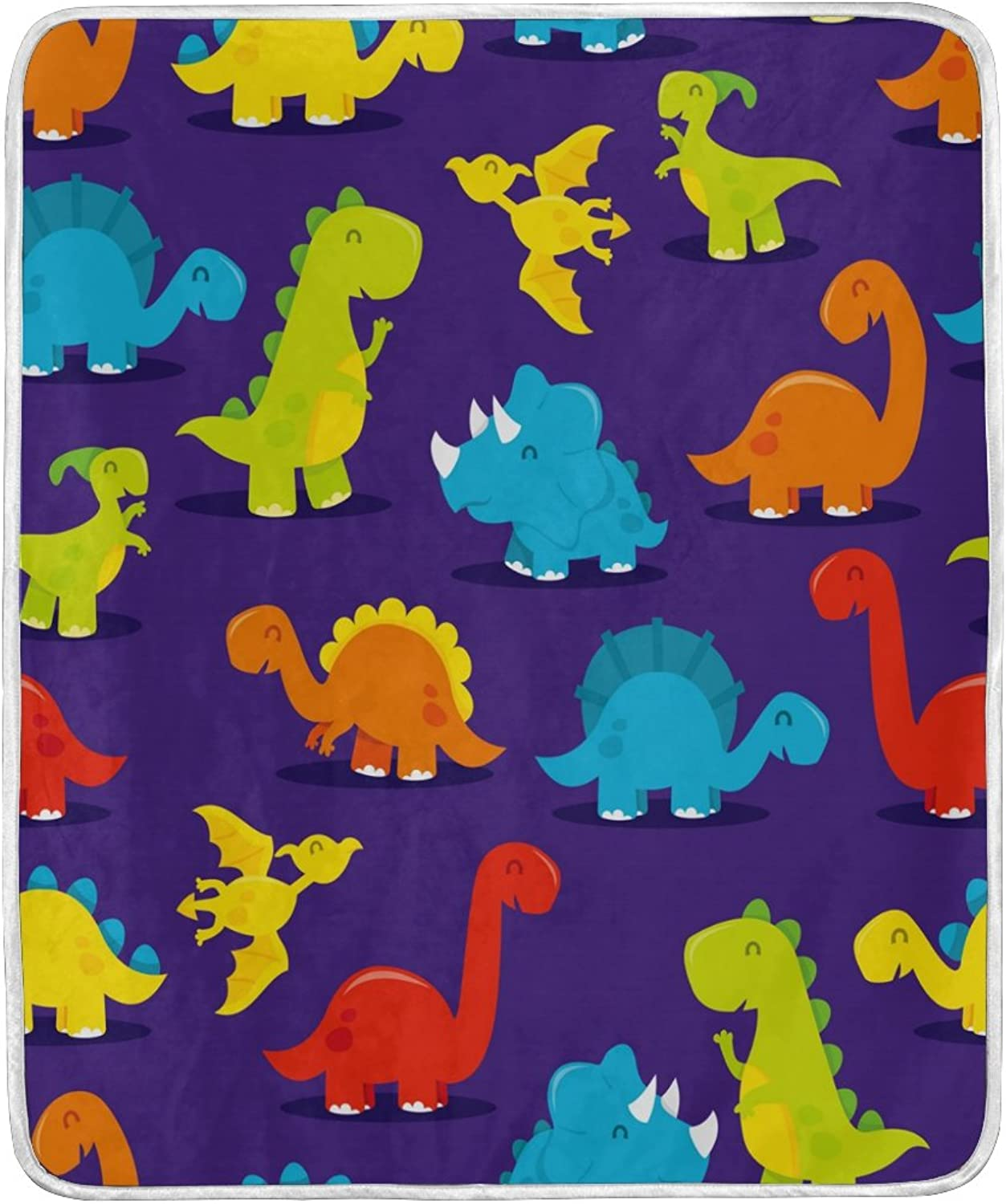 ALAZA Home Decor colorful Cartoon Dinosaur Blanket Soft Warm Blankets for Bed Couch Sofa Lightweight Travelling Camping 60 x 50 inch Throw Size for Kids Boys Women