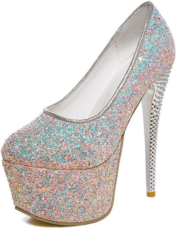 Smilice Women Shiny Look Platform Pumps Fashion Sky High Heel shoes Black
