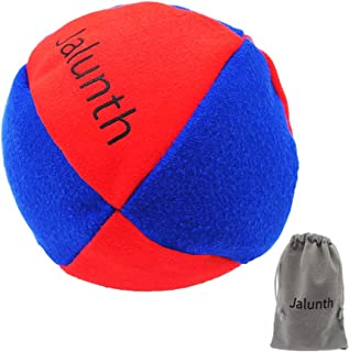 Jalunth Hacky Sack Balls Footbag Set of 1 with Carry Bags, No-Bust Hand Stitching (Red-Blue)