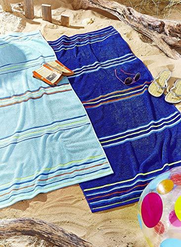 Catherine Lansfield - Par de Toallas de Playa diseño Arco Iris–Azul