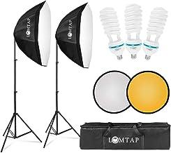 "Lomia Softbox Lighting Kit 2 Photo Studio Lighting جعبه های نرم 20 ""x28"" تجهیزات حرفه ای چراغ عکاسی با بازتابنده نور 2 لامپ و لوازم جانبی کیف"
