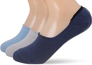 Carina Cotton Elastic-Trim No-Show Socks for Women - Set of 3 - Multi Color