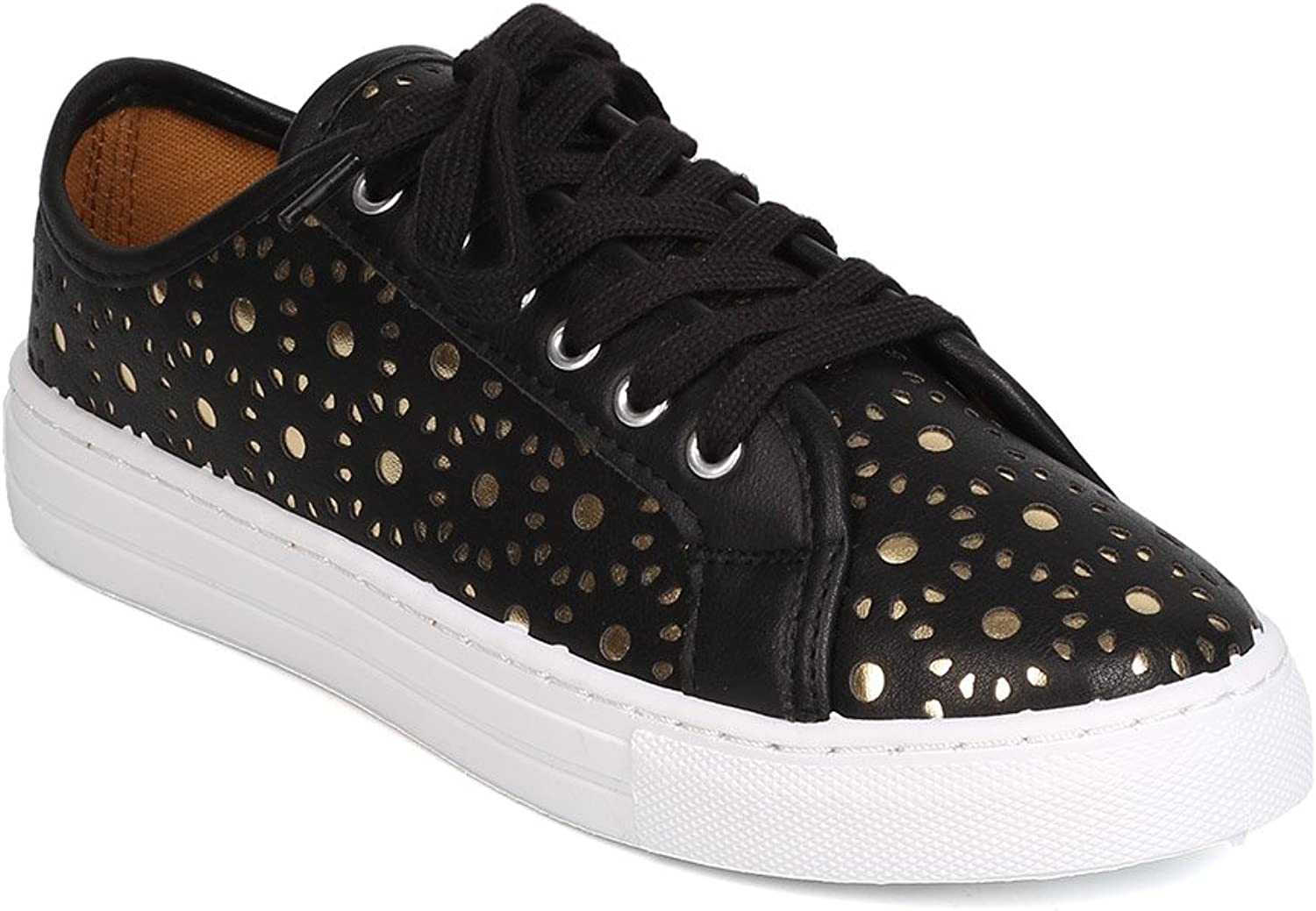 Qupid Women Leatherette Perforated Metallic Lace Up Sneaker GJ01 - Black