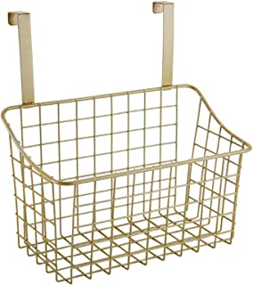 XBEII Door Cabinet Hanging Storage Holder Basket,Metal Organizer Baskets with Hook For Hanging In Entryway, Bedroom, Bathroom, Laundry Room,1 Pack,Gold (28.5x11.5x15cm)