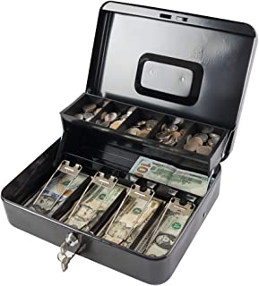 Kyodoled Large Cash Box with Money Tray and Lock, Metal Money Box Safe, Cash Register,5..