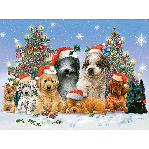 Bits and Pieces - 1000 Piece Jigsaw Puzzle for Adults 20'X27' - Canine Christmas - 1000 pc Dog Jigsaw by Artist Giordano Studios