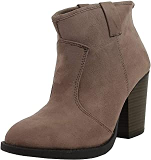 Soda Women's Albert Faux Suede Cowboy Pull-Tab Stacked Heels Ankle Booties, Black, 6.5 M US (Taupe, 7 M)