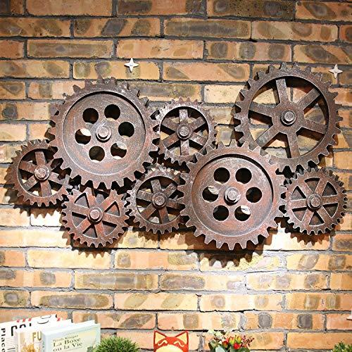 zenggp Décorations Murales Grandes Murales Modèles D'engrenages Vintage Style Industriel pour Les Bars/Cafés,Red-Brown+94 * 51cm