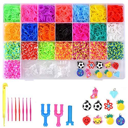 Gummi Loom Bänds DIY Webstuhl Bänder Band Box mit Armband Halskette Strickwerkzeug zum Kinderspielzeug (4400)
