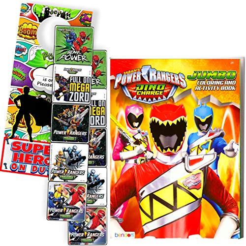 POWER RANGERS DINO CHARGE Coloring Book and Stickers Super Set Bundle ~ Dino Chargers Coloring Book with Power Rangers Dino Chargers Stickers & Specialty Door Hanger