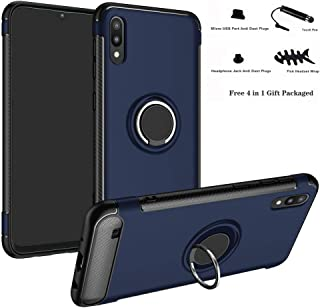 Labanema Hybrid Dual Layer [Anti-Scratch] [Shock Absorption] 360 Degree Rotation Ring Holder Kickstand Armor Slim Protective Cover Case for Samsung Galaxy A10 /M10 2019 Smartphone Blue BT00600-2