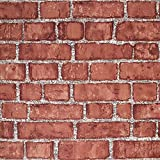 """Cohoo Home Red Faux Brick Wallpaper Peel and Stick Wallpaper for Bedroom Living Room Wall Paper Sticker Pull and Stick Self Adhesive Removable Wallpaper for Kitchen Stick On Wallpaper 18""""×118"""""""