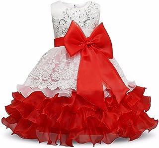 VIKITA Girls Sleeveless Tulle Dresses Flower Girl Dress C00272 RED,120